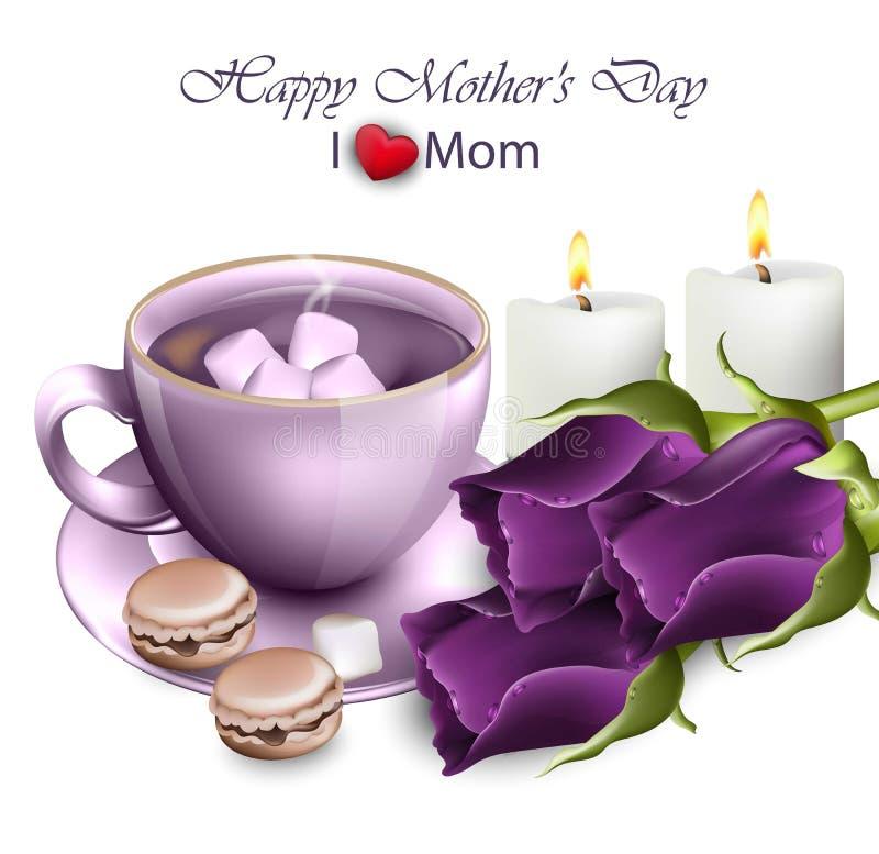 Café feliz del día de madres con el vector ultravioleta de las rosas ilustración del vector
