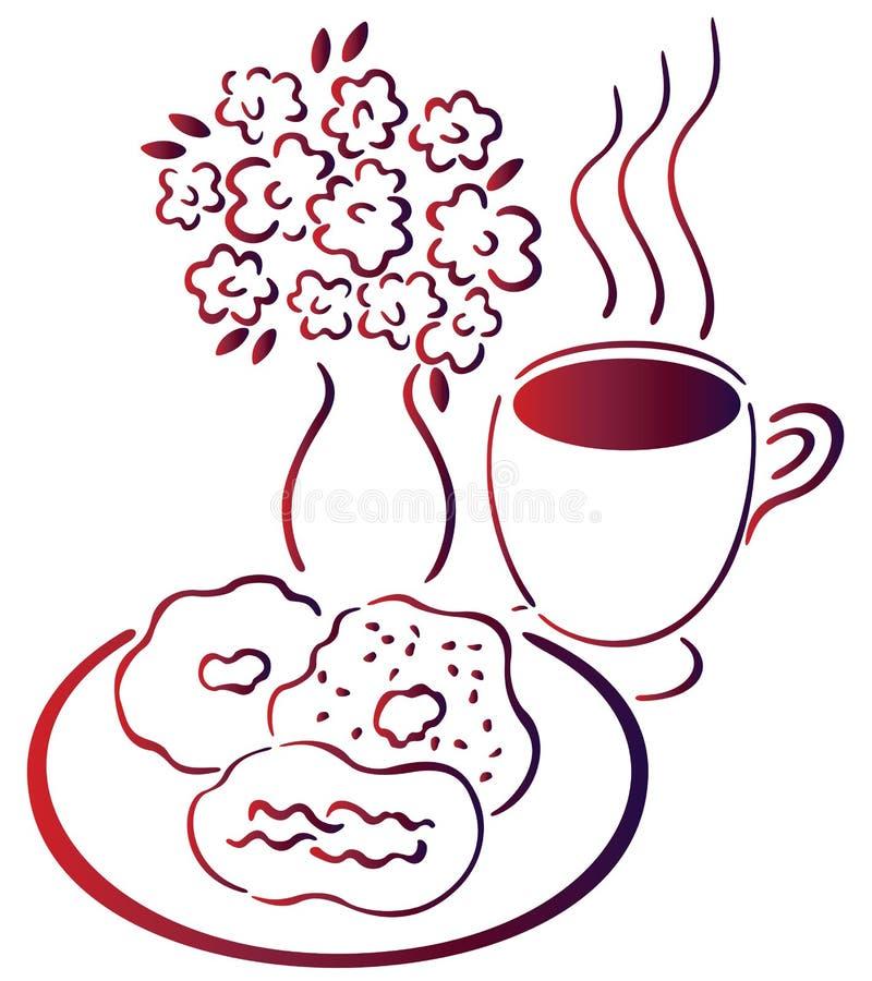 Café, galleta y flor stock de ilustración