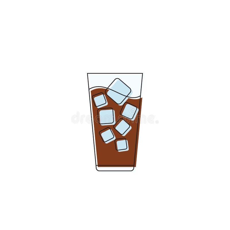 Café glacé avec glaçons icône symbole vectoriel symbole de l'icône boisson isolée sur fond blanc illustration de vecteur