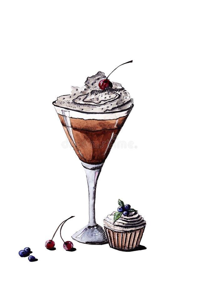 Café glacé dans un verre pour Martini avec de la crème et la cerise illustration libre de droits