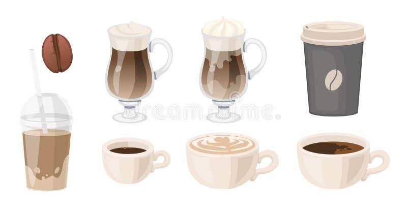 Café. glasse à grains latents à emporter café espresso cappuccino americano Illustration vectorielle isolée sur blanc illustration de vecteur