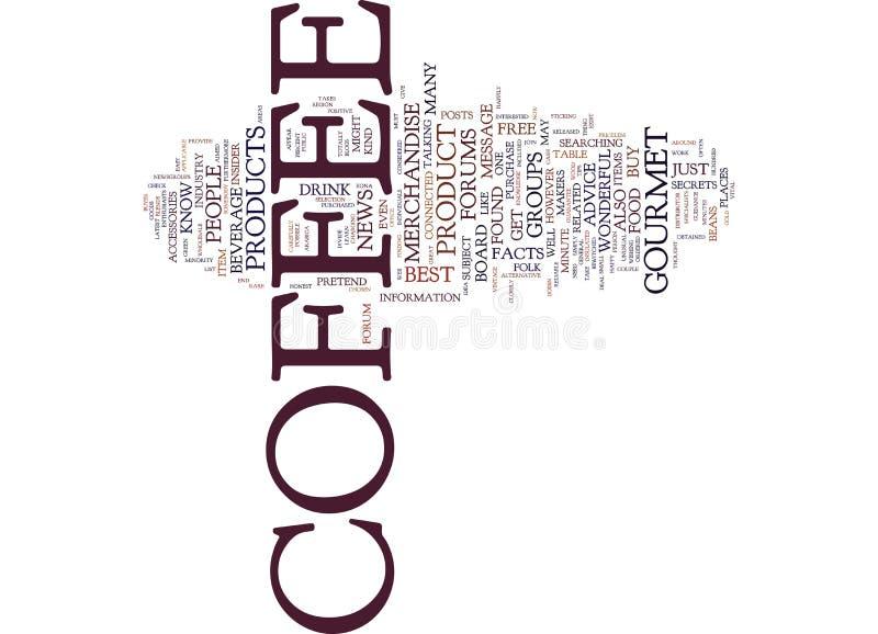 Café gourmet e conceito livre da nuvem da palavra do conselho do café ilustração stock
