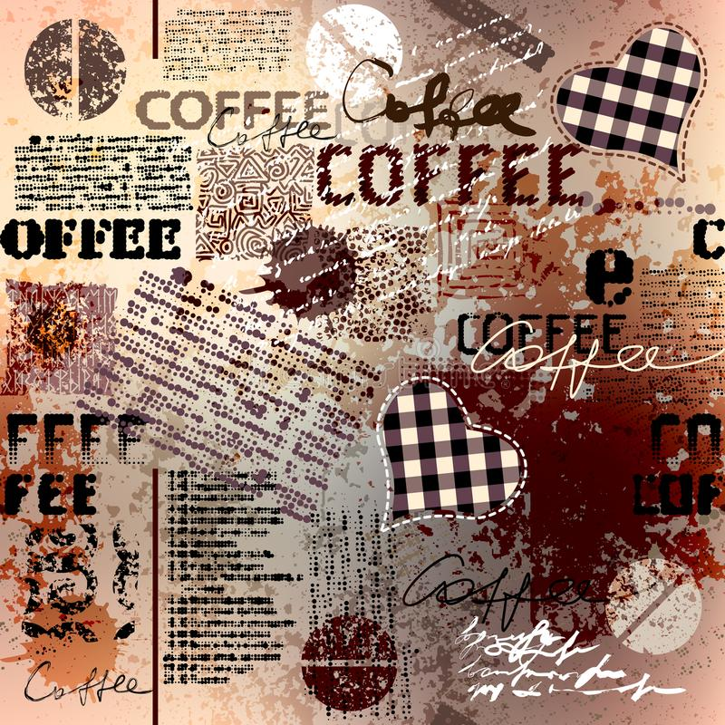Café Grains de café abstraits sur le fond brun illustration stock
