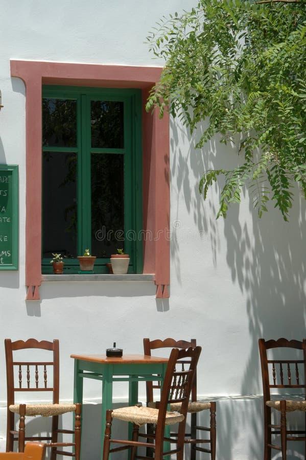 Café griego de la isla fotografía de archivo libre de regalías