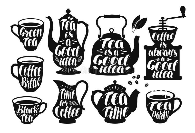Café, grupo de etiqueta do chá Molde do projeto para o restaurante ou o café do menu Ilustração do vetor da rotulação ilustração stock