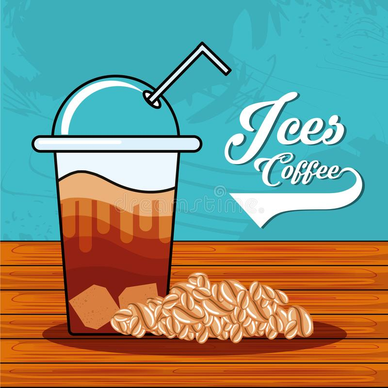 Café helado delicioso con la paja en tabla de madera stock de ilustración