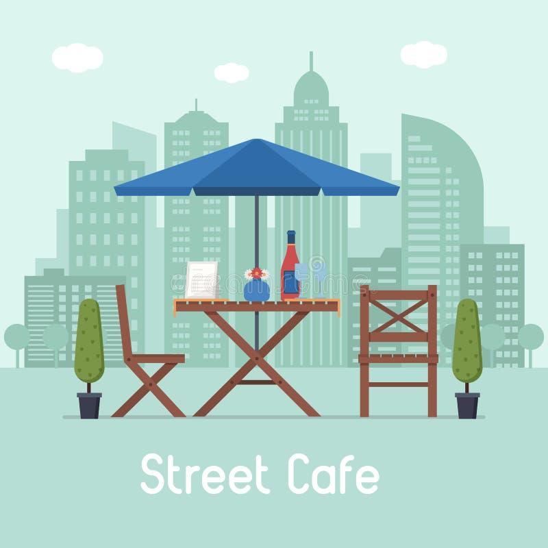 Café im Freien mit Tabelle und Sitzen vektor abbildung