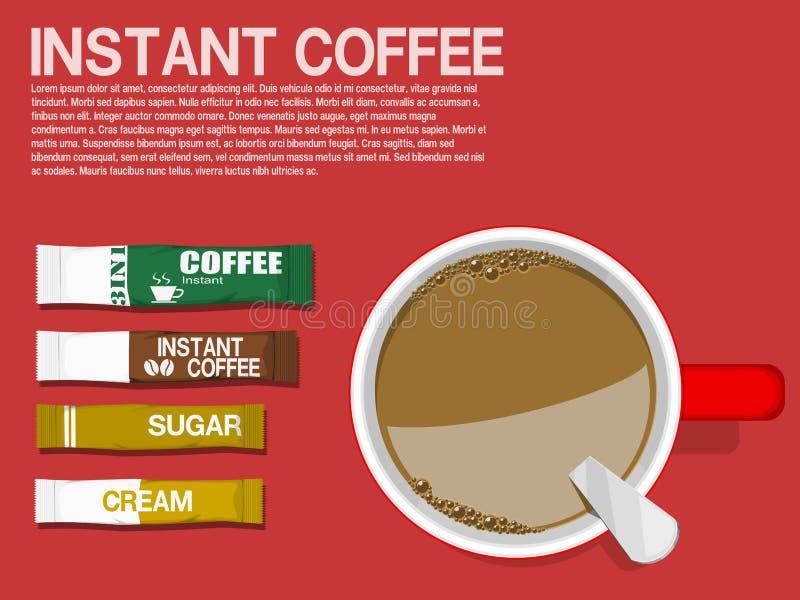 Café instantáneo de la endecha plana stock de ilustración