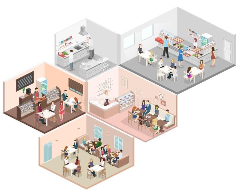 Caf interior del concepto plano isom trico 3d cantina for Plano de restaurante y cocina
