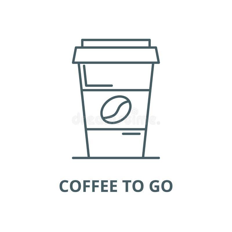 Café a ir alinhar o ícone, vetor Café a ir esboçar o sinal, símbolo do conceito, ilustração lisa ilustração royalty free