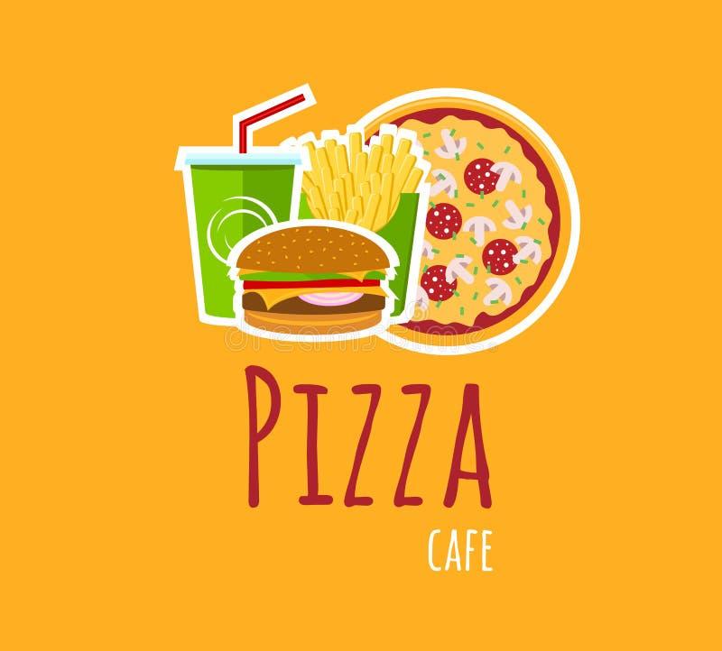 Café Logo Composition de pizza illustration de vecteur