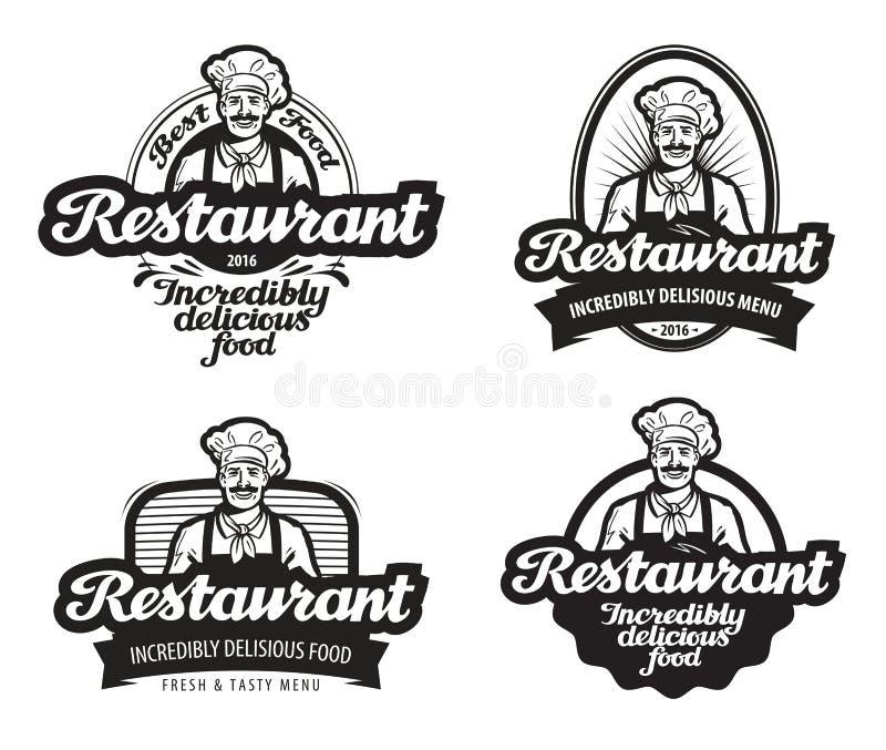 Café, logo de vecteur de restaurant wagon-restaurant, icône de restaurant illustration de vecteur