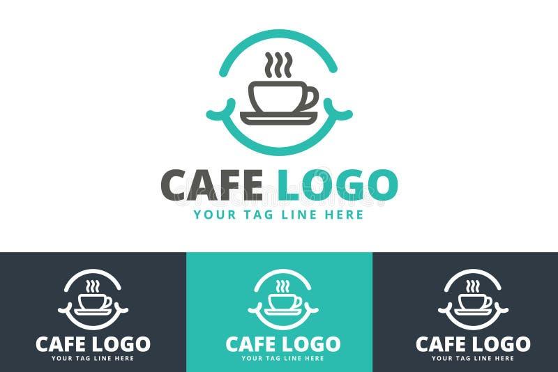 Café Logo Design Isolated auf weißem Hintergrund lizenzfreie abbildung