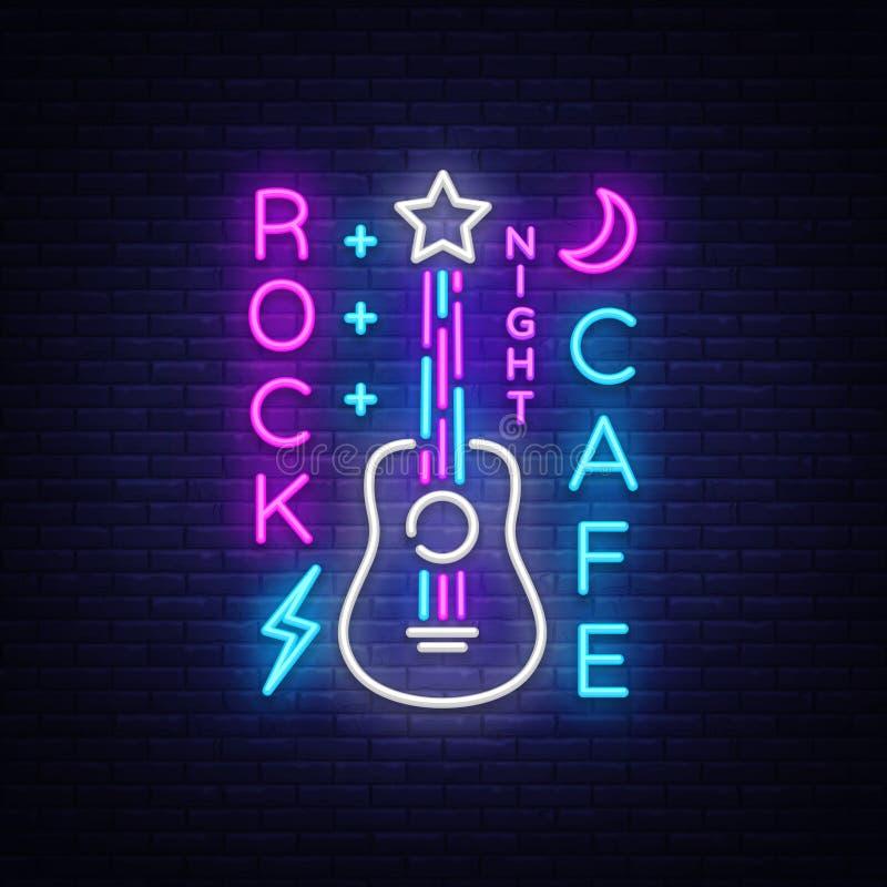 Café Logo Neon Vector de la roca Oscile la señal de neón del café, concepto con la guitarra, publicidad brillante de la noche, ba ilustración del vector