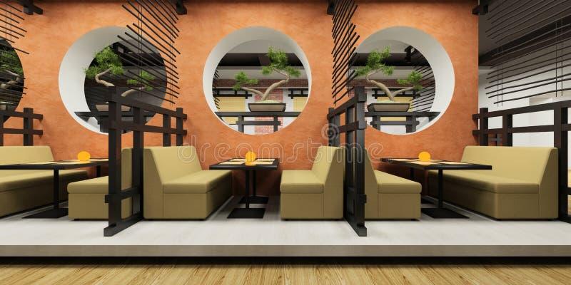 Café moderne dans le type japonais illustration de vecteur