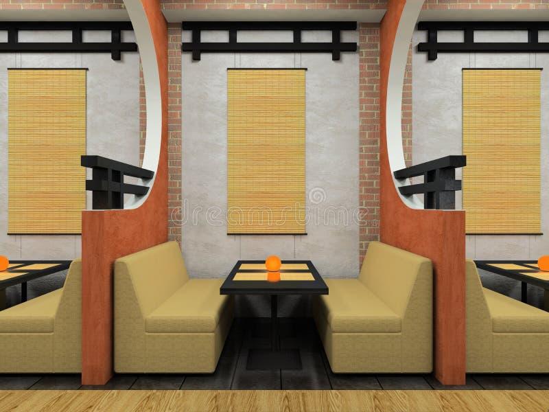 Café moderne dans le type japonais illustration stock