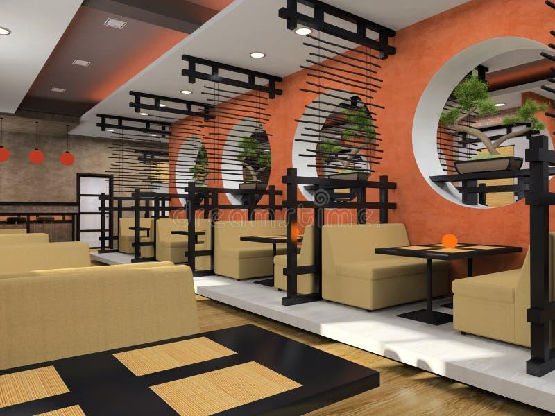 Café moderne dans le type japonais illustration libre de droits