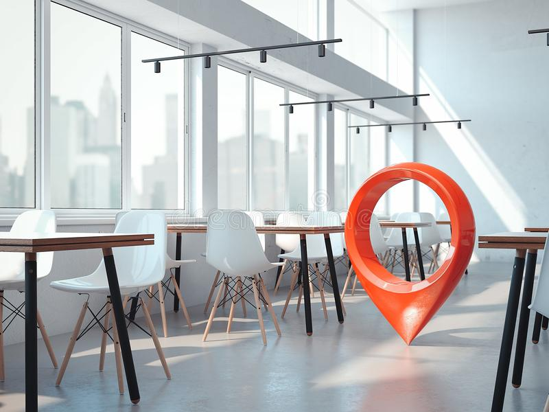 Café moderno de la oficina con las sillas blancas y el perno rojo del geotag o del mapa representación 3d ilustración del vector