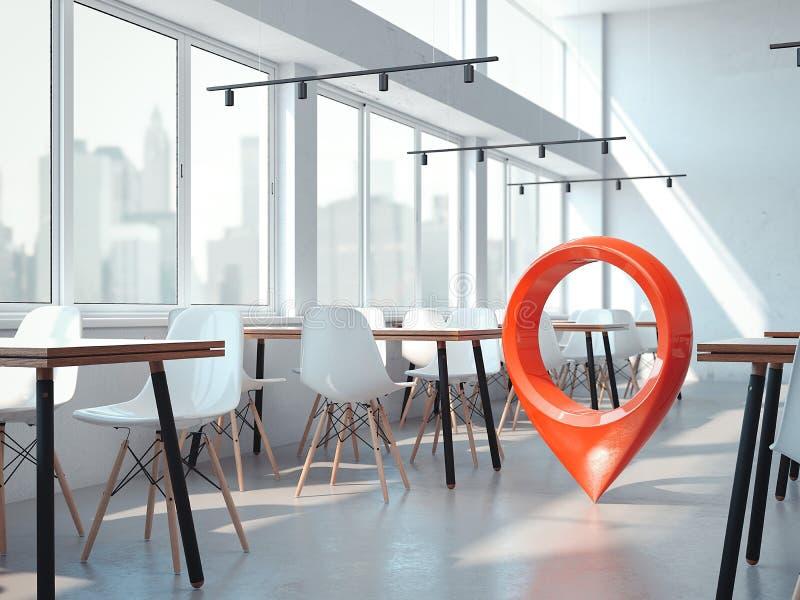 Café moderno do escritório com cadeiras brancas e o pino vermelho do geotag ou do mapa rendição 3d ilustração do vetor