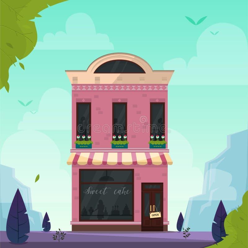 Café moderno, restaurante, barra, cafetaria, padaria, construção da pizaria Ilustração do vetor Fundo da paisagem da natureza ilustração stock