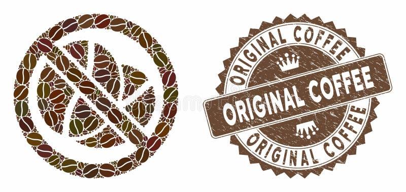 Café Mosaico sin cafeína con premura Sello de café original ilustración del vector