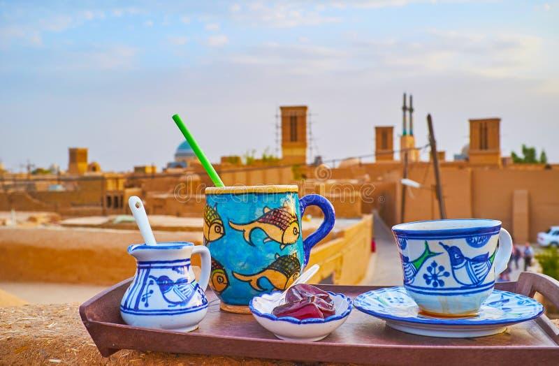 Café no telhado, Yazd, Irã imagem de stock