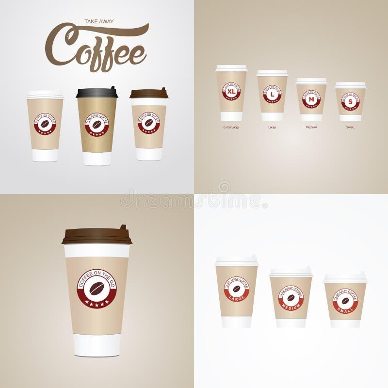 Café nos copos ir Os tamanhos diferentes de levam embora o copo de café de papel ilustração stock
