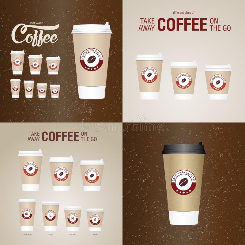 Café nos copos ir Os tamanhos diferentes de levam embora o copo de café de papel ilustração do vetor