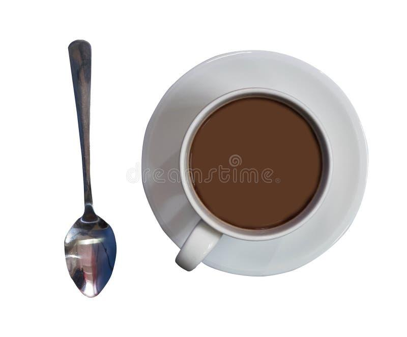 Café o adentro taza llenada té con el topview de la cuchara en blanco aislado imágenes de archivo libres de regalías
