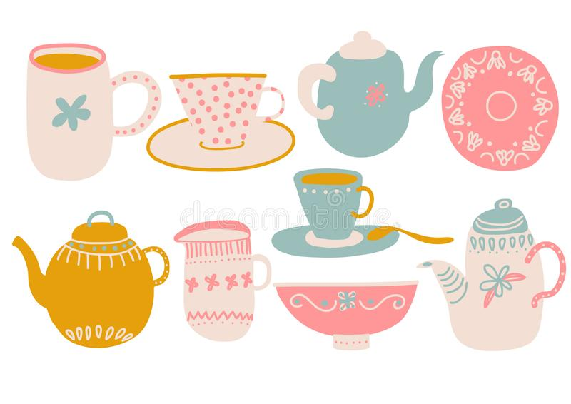 Café o juego de té lindo, elementos del diseño con la tetera, taza de té, platillo, leche del jarro y ejemplo del vector de la se ilustración del vector