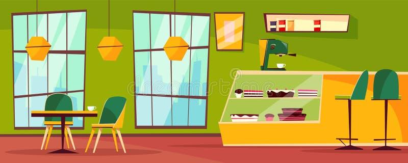 Café- oder Cafeteriainnenvektorkarikaturillustration stock abbildung