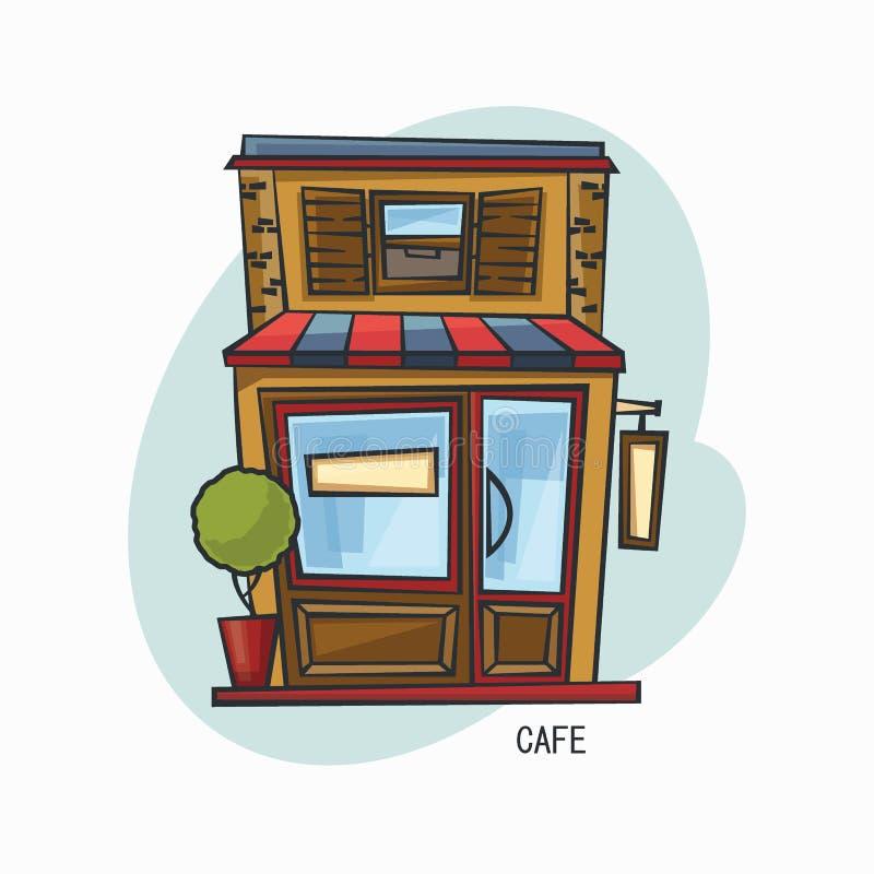 Café- oder Cafeteriastruktur oder Snackbar, Buffet vektor abbildung