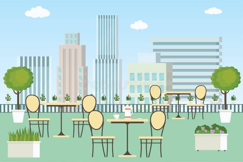 Café oder Restaurant des Sommers im Freien mit Tabellen und Stühlen lizenzfreie abbildung