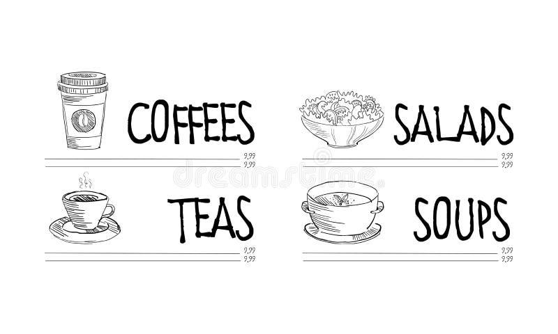 Café- oder Restaurantmenüschablone mit Schale heißem Kaffee und Tee, Schüssel geschmackvollem Salat und Suppe Hand gezeichnetes V vektor abbildung