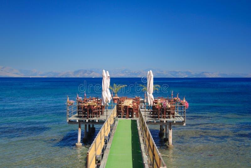 Café at open sea stock photo