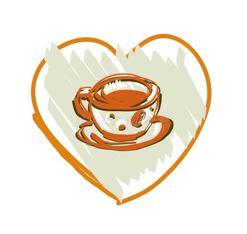 Café ou copo do chá em um fundo branco Ilustração do vetor ilustração royalty free
