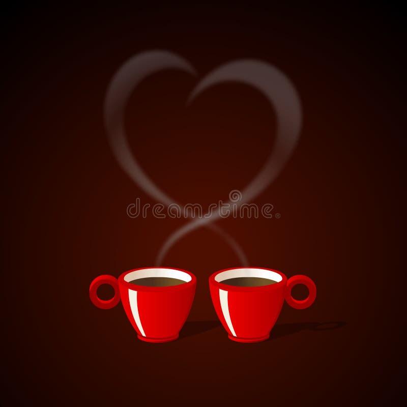 Café para dos stock de ilustración