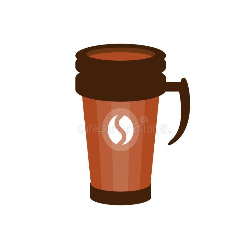 Caf para llevar en un ejemplo termo marr n del vector de for Cafe para llevar