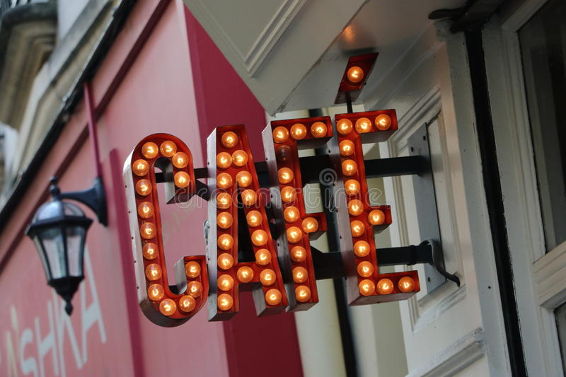 Café in Paris. Coffee sign in the city of Paris, France royalty free stock photography