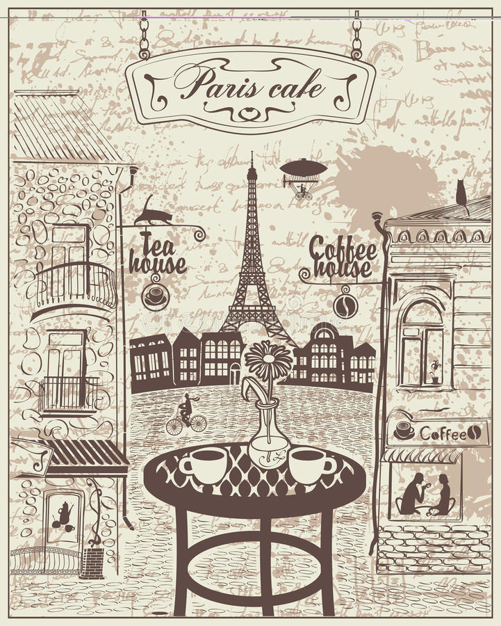 Café parisien de rue avec des vues de Tour Eiffel illustration libre de droits
