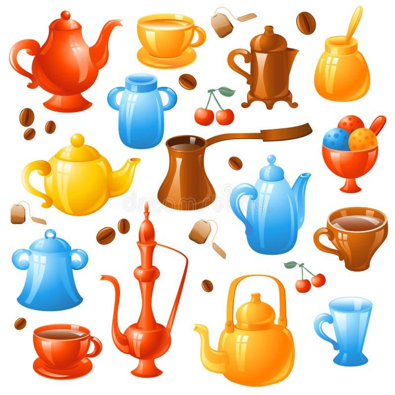 Café, positionnement de thé illustration de vecteur