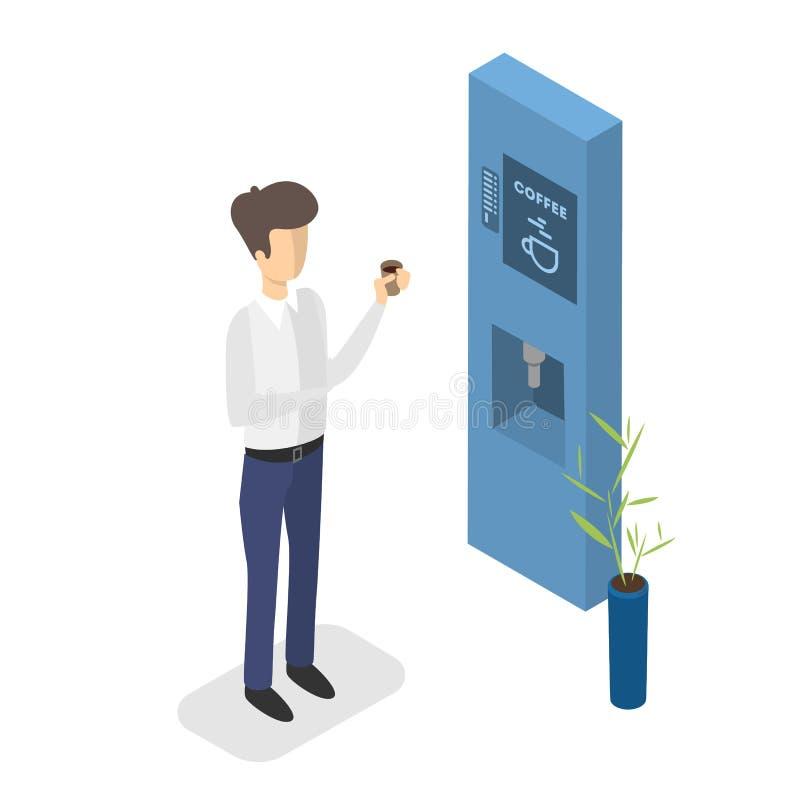 Café potable d'homme de la machine automatique illustration libre de droits