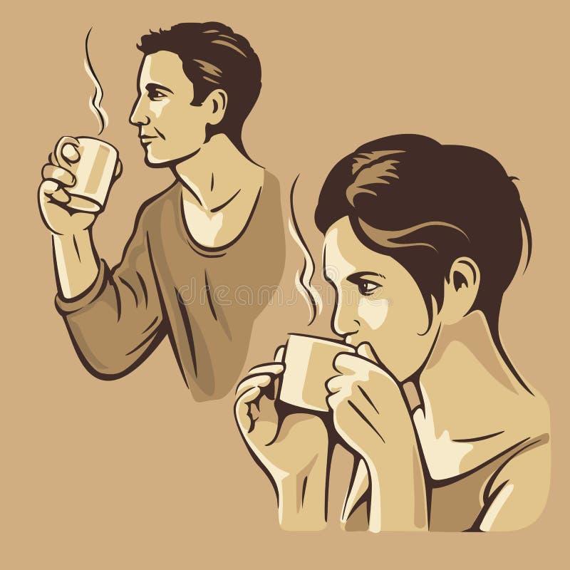 Café potable d'homme et de femme Illustration de monochrome de vintage de vecteur Croquis tiré par la main pour l'affiche, Web, b illustration stock