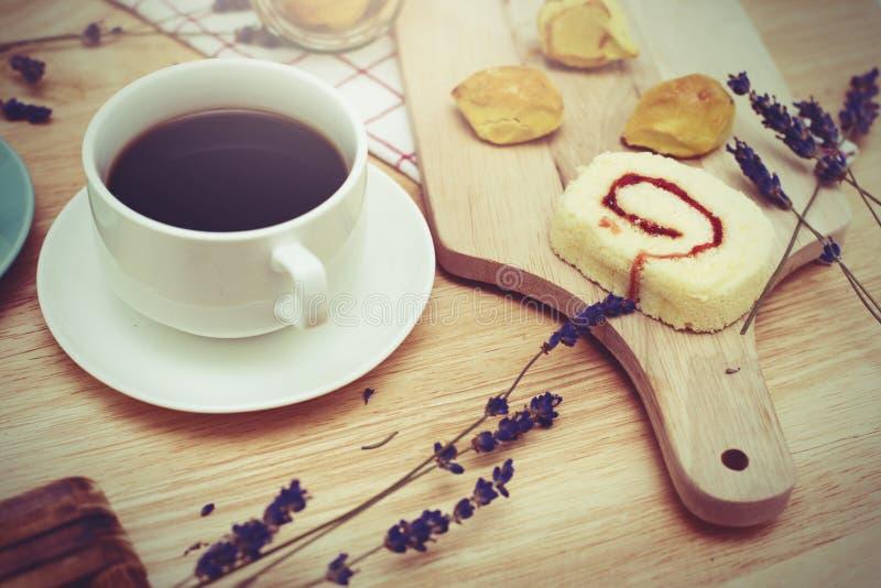 café preto com bekery fotografia de stock