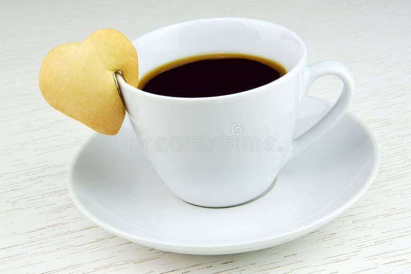 Café preto com cookie imagem de stock royalty free
