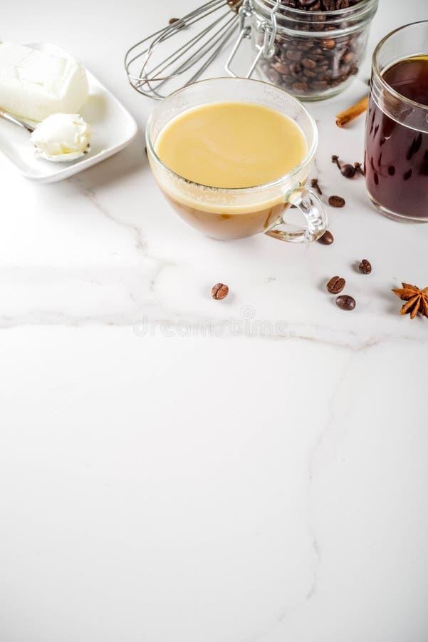 Café a prueba de balas con mantequilla imagen de archivo libre de regalías