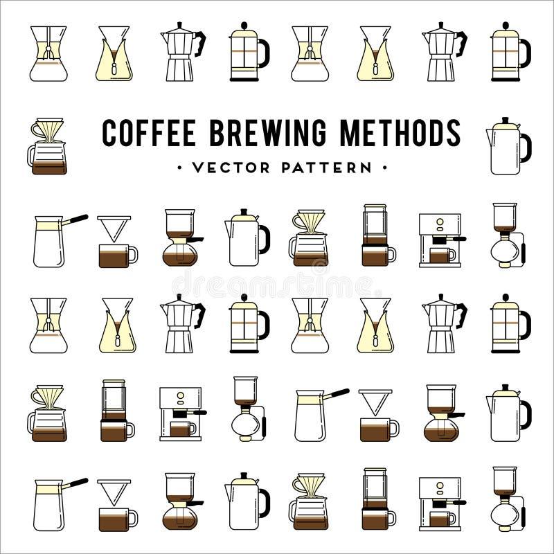 Café que prepara el modelo de los métodos Maneras diferentes de stock de ilustración