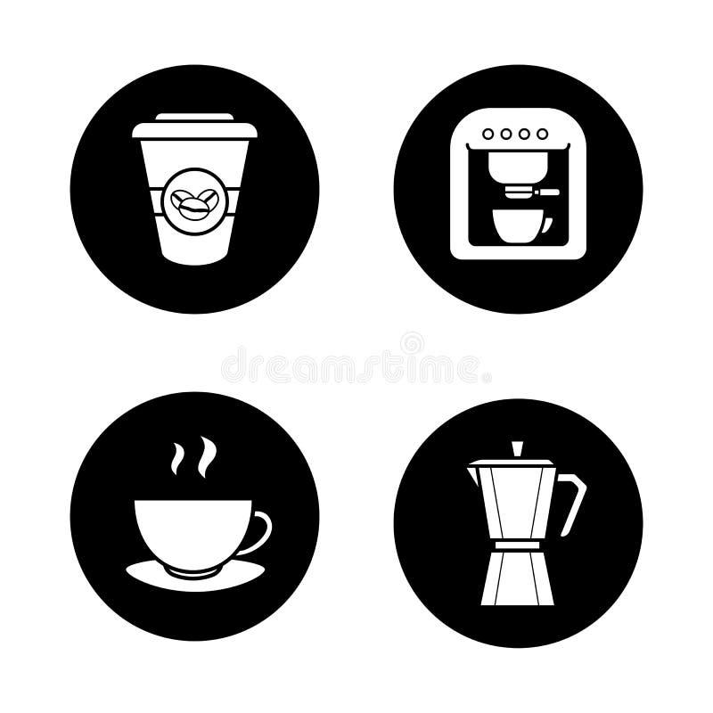 Café que prepara los iconos fijados ilustración del vector