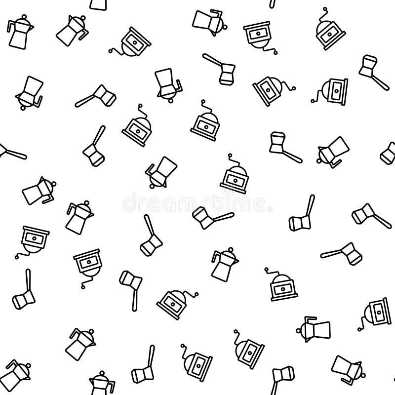 Café que prepara vector inconsútil del modelo de los dispositivos ilustración del vector