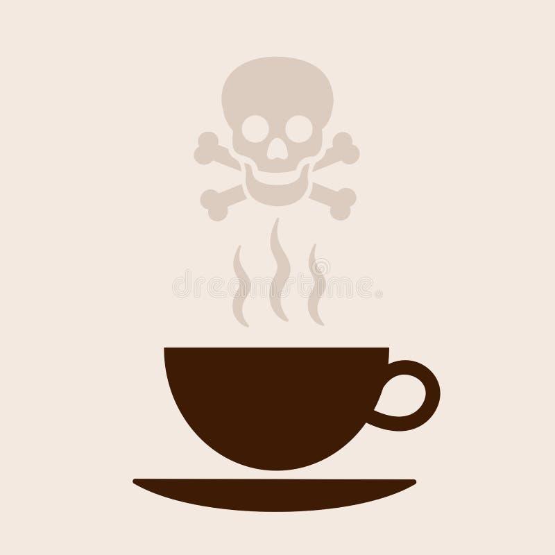 Café quente como a bebida perigosa que causa a morte ilustração stock